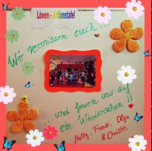 Melly, Franzi, Olga und Christin grüßen alle Kinder und Eltern der Löwengruppe